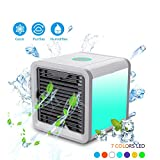 E-Lush Mini Air Cooler, Mobile Klimageräte Luftkühler mit Wasserkühlung Zimmer Raumentfeuchter USB Klimaanlage Ventilator Tischventilator 3 Kühlstufen 7 Farbe LED-Licht für Büro, Hotel, Schlafzimmer