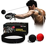 Xnature Boxen Training Ball Reflex Fightball Speed Fitness Punch Boxing Ball mit Kopfband, Trainingsgerät Speedball für Boxtraining Zuhause und Outdoor MEHRWEG (Schwarz + Rot & Box)