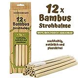 Bambus Strohhalme wiederverwendbar - 12 Stück Set Trinkhalme Bio-logisch mit Reinigungsbürste